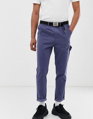 Asos DESIGN tapered utility pants in washed blue with belt