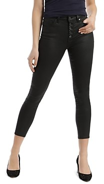 Mavi Jeans Tess Faux-Leather Cropped Skinny Jeans in Black Jeather