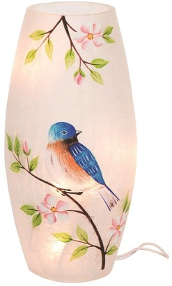 Transpac Glass 9 in. Multicolor Spring Crackled Bluebird LED Vase with Plug