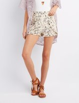 Charlotte Russe Floral Ruffle-Trim Tulip Shorts