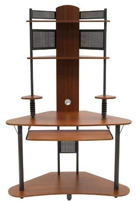 Calico Designs Element Corner Computer Tower With Hutch Pewter/Teak