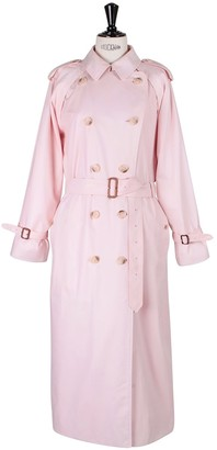Burberry Pink Cotton Trench Coat for Women Vintage