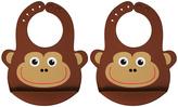 Brown Monty the Monkey Large Bib - Set of Two