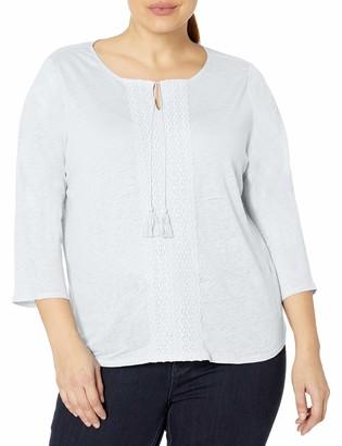 NYDJ Women's Plus Size 3/4 Sleeve Linen Lace Trim Henley
