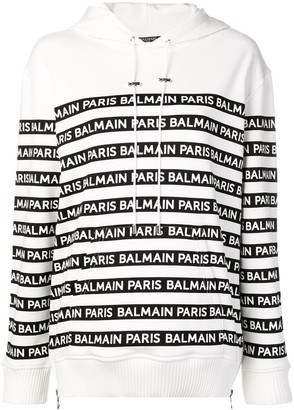 Balmain Logo Striped Hoodie
