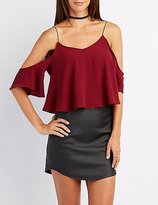 Charlotte Russe Cold Shoulder V-Neck Crop Top