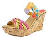 Azura Mania Women Open Toe Leather Wedge Sandal.