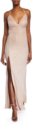 Aidan Mattox Foiled-Knit Halter Gown with Strappy Back