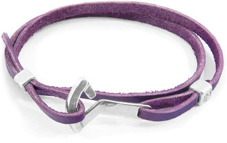 ANCHOR & CREW Grape Purple Flyak Anchor Silver And Flat Leather Bracelet