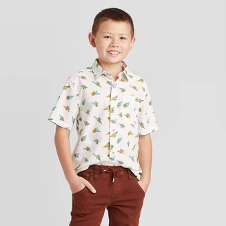 Cat & Jack Boys' Short Sleeve Dino Print Button-Down Shirt - Cat & JackTM Alond Crea
