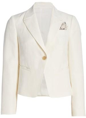 Brunello Cucinelli Chevron-Weave Linen & Cotton Cropped Jacket