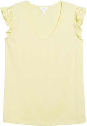 1901 Ruffle Sleeve Cotton Blend Top