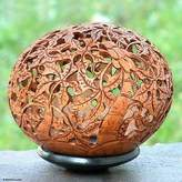 Unique Coconut Shell Sculpture, 'Papaya Trees'