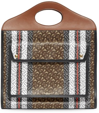 Burberry Medium Monogram Stripe E-Canvas Pocket Bag