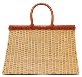 Sparrows Weave - The Tote Large Wicker And Leather Basket Bag - Womens - Tan Multi