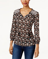 Style&Co. Style & Co Printed Embroidered Top, Only at Macy's