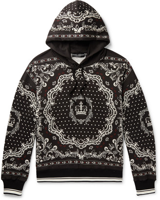 Dolce & Gabbana Printed Loopback Cotton-Blend Jersey Hoodie