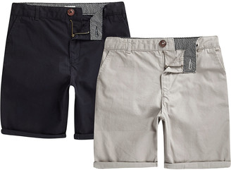River Island Boys navy and grey chino shorts multipack