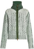 Maison Margiela Cable-knit print zip-through sweater