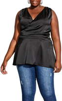City Chic Entice Back Detail Satin Top