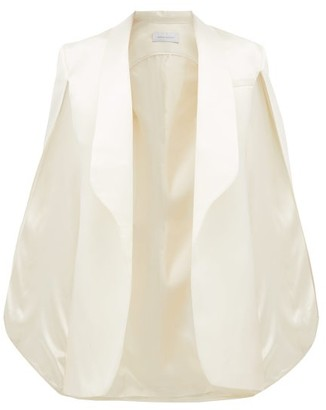 Marina Moscone - Sleeveless Cape-back Wool-blend Jacket - Womens - Ivory