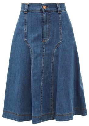 See by Chloe A-line Denim Midi Skirt - Denim
