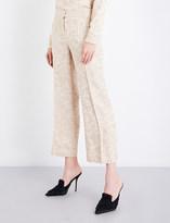 Protagonist Ladies Buff Floral Elegant Wide-Leg Satin-Jacquard Pants