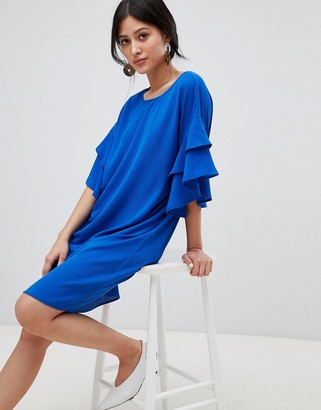 Y.A.S midi shift dress in blue with ruffle sleeve