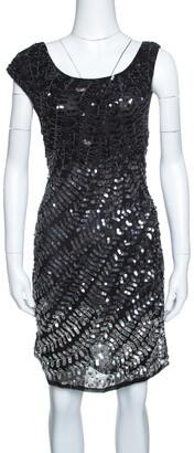 Alice + Olivia Black and Silver Sequin Embellished Sleeveless Charlie Dress L