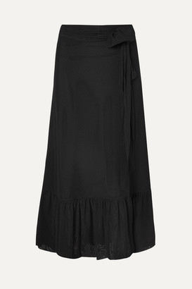 Ganni Wrap-effect Swiss-dot Stretch-tulle Maxi Skirt - Black