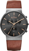 Skagen Ancher chronograph leather watch