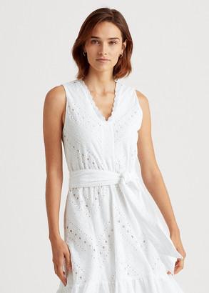 Ralph Lauren Eyelet Lace Cotton Voile Dress