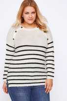 Yours Clothing Cream & Black Stripe Knit Jumper With Bronze Buttons