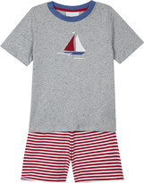 The Little White Company Boat print striped cotton-blend pyjamas 1-6 years