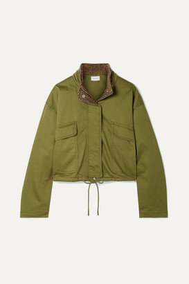 Current/Elliott The Cropped Infantry Cropped Cotton-blend Jacket - Green