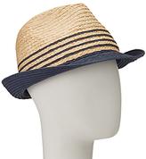 John Lewis Packable Stripe Trilby Hat, Natural/Navy