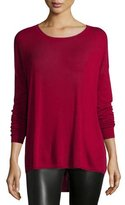 Vince Long-Sleeve Crewneck Shirt, Crimson