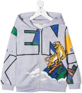 Kenzo Kids Tiger Logo Print Zip-Front Hoodie