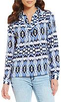 Jones New York Ikat Jewel Printed Georgette Hi-Low Side Slit Blouse