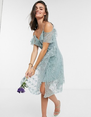 French Connection Sleeveless Bridesmaid Dress in Silver Blue