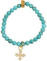 King Baby Studio - Turquoise Bead Bracelet (Vermeil Pave Cross) - Jewelry