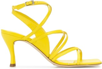 BY FAR Square Toe 90mm Strappy Sandals