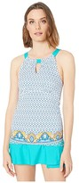 Cabana Life Jewel Scarf Tankini Top (Turquoise Multi) Women's Swimwear
