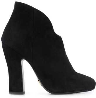 Prada Zipped Suede Booties