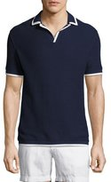 Orlebar Brown Erick Piqué Polo Shirt with Contrast Tipping, Navy