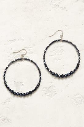 Chan Luu Navy Open Circle Multi Beaded Drop Earrings Navy 1 Size