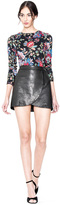 Alice + Olivia Lennon Leather Sidezip Overlap Mini Skirt