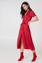 NA-KD Tie Waist Jacquard Satin Dress