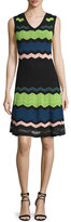M Missoni Sleeveless V-Neck Zigzag Dress, Black Multi