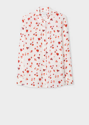 Paul Smith Women's White 'Screen Bud' Print Silk Shirt